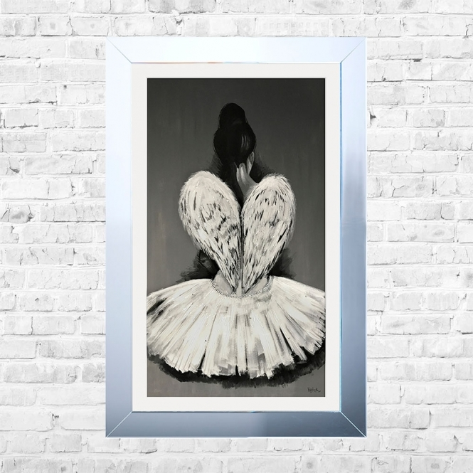SHH Interiors Ballerina White Mount Framed Liquid Artwork and Swarovski Crystals