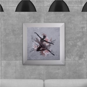 Ballet Dancer Hand Made with Liquid Glass and Swarovski Crystals 75 x 75 cm