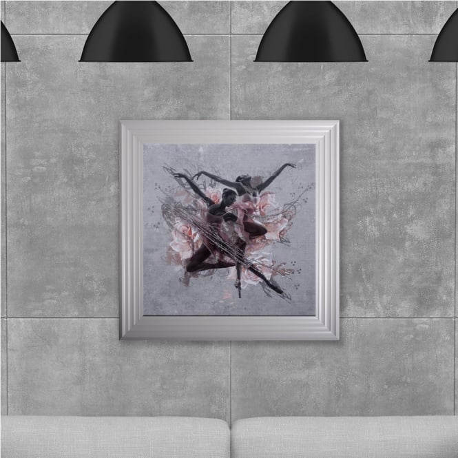 SHH Interiors Ballet Dancers Hand Made with Liquid Glass and Swarovski Crystals 75 x 75 cm