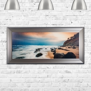 Beach Landscape Framed Glitter Liquid Artwork - 115cm x 55cm
