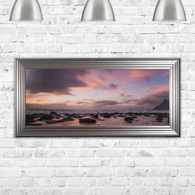 SHH Interiors Beach & The Sands Framed Glitter Liquid Artwork - 115cm x 55cm
