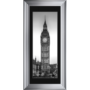 Big Ben Framed Glitter Liquid Artwork with Black Mount - 115cm x 55cm