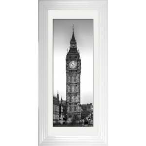 Big Ben Framed Glitter Liquid Artwork with White Mount - 115cm x 55cm