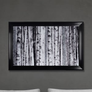 Birch Forest Print Hand Made with Liquid Glass and Swarovski Crystals 114 x 74 cm