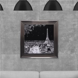 Black and White Paris Hand Made with Liquid Glass and Swarovski Crystals 75 x 75 cm