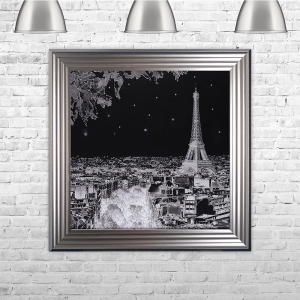 Black and White Paris Scene | 75cm x 75cm