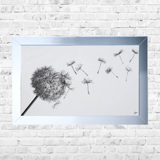 SHH Interiors Blowing Dandilion Framed Liquid Artwork and Swarovski Crystals