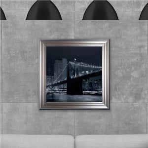 Brooklyn Bridge Hand Made with Liquid Glass and Swarovski Crystals 75 x 75 cm