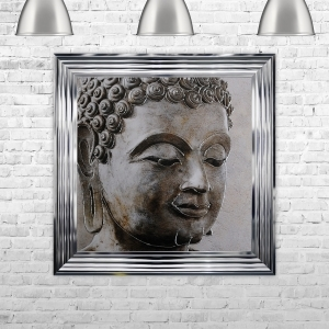 Buddha 1 Artwork Hand Made with Liquid Glass and Swarovski Crystals 75 x 75 cm