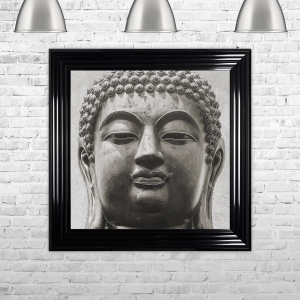 Buddha 2 Artwork Hand Made with Liquid Glass and Swarovski Crystals 75 x 75 cm