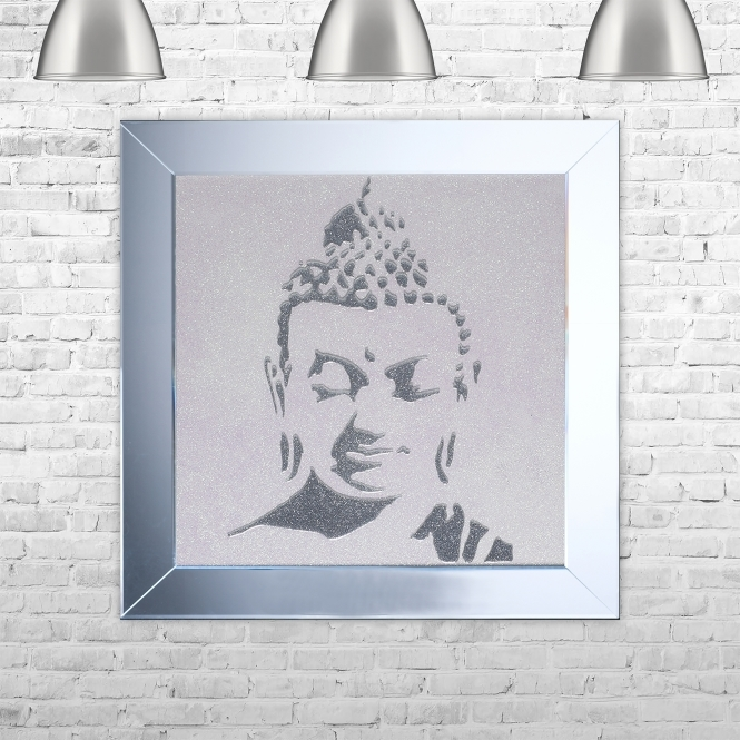 SHH Interiors Buddha 3 Artwork Hand Made with Liquid Glass and Swarovski Crystals 75 x 75 cm