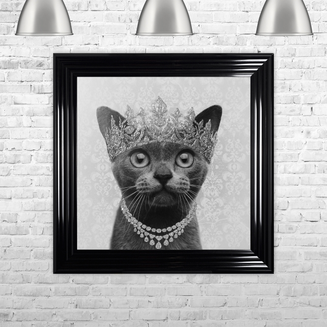 SHH Interiors Burmese Cat with Crown Detail Framed Liquid Artwork with Swarovski Crystals