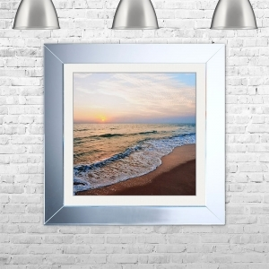 Calm Beach Framed Liquid Artwork | 75 cm x 75 cm