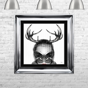 Cara Horns Framed Liquid Artwork with Swarovski Crystals