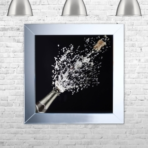 Champagne Bottle Black Background Framed Artwork with Liquid Art and Swarovski Crystals