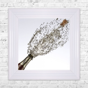 Champagne Bottle Popping Print Framed Liquid Artwork and Swarovski Crystals