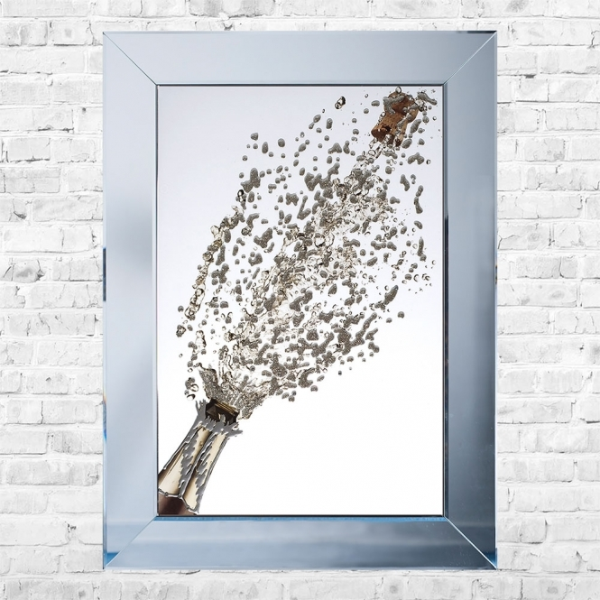 SHH Interiors Champagne Bottle Popping White Background Framed Liquid Artwork and Swarovski Crystals