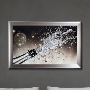 Champagne Bottle Print Hand Made with Liquid Glass and Swarovski Crystals 114 x 74 cm