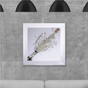 Champagne Bottle Print Hand Made with Liquid Glass and Swarovski Crystals 75 x 75 cm