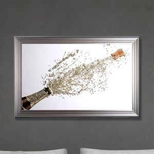 Champagne Bottle Print - White Background Made with Liquid Glass and Swarovski Crystals 114 x 74 cm