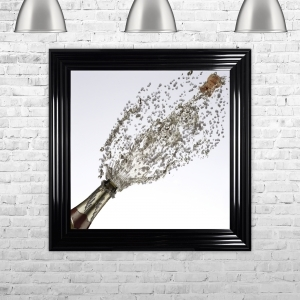 Champagne Bottle White Background Framed Artwork with Liquid Art and Swarovski Crystals