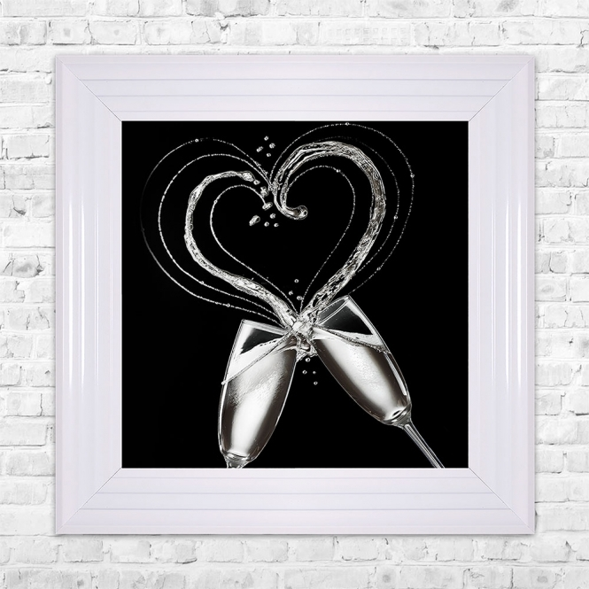 SHH Interiors Champagne Glasses Print Framed Liquid Artwork and Swarovski Crystals