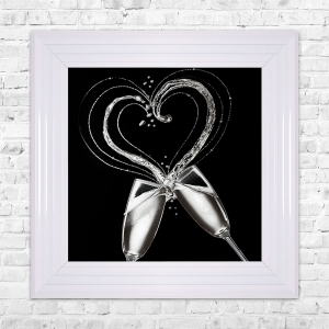 Champagne Glasses Print Framed Liquid Artwork and Swarovski Crystals