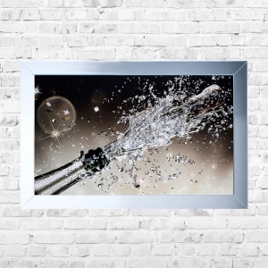 Champagne Pop Bubbly Background Framed Liquid Artwork and Swarovski Crystals