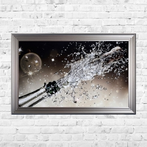 Champagne Pop Bubbly Background Framed Liquid Artwork and Swarovski Crystals Summer sale
