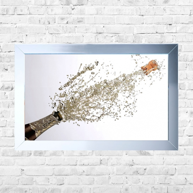 SHH Interiors Champagne Pop White Background Framed Liquid Artwork and Swarovski Crystals