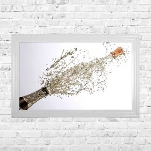 Champagne Pop White Background Framed Liquid Artwork and Swarovski Crystals Summer Sale