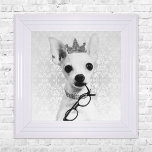 Chiwawa Print Framed Liquid Artwork and Swarovski Crystals