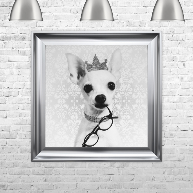 SHH Interiors Chiwawa With A Crown Framed Liquid Artwork and Swarovski Crystals
