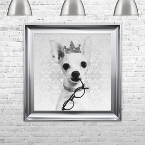 Chiwawa With A Crown Framed Liquid Artwork and Swarovski Crystals