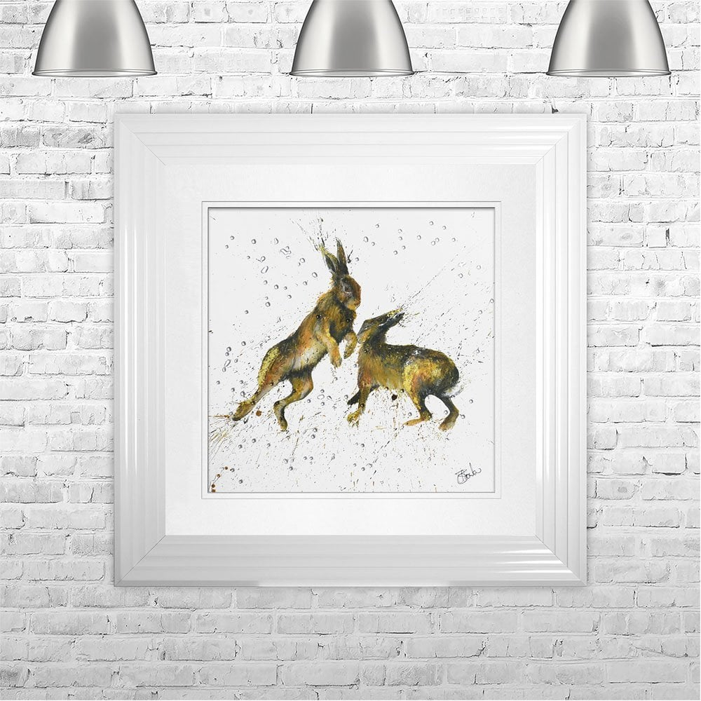 CLARE BROWNLOW BOXING HARES FRAMED ARTWORK Wall Art | 75 CM X 75 CM