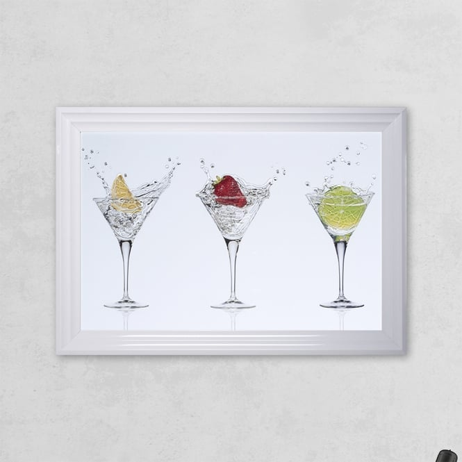 SHH Interiors Cocktail Glass Print White with Liquid Glass and Swarovski Crystals 48 x 68 cm
