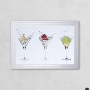 Cocktail Glass Print White with Liquid Glass and Swarovski Crystals 48 x 68 cm