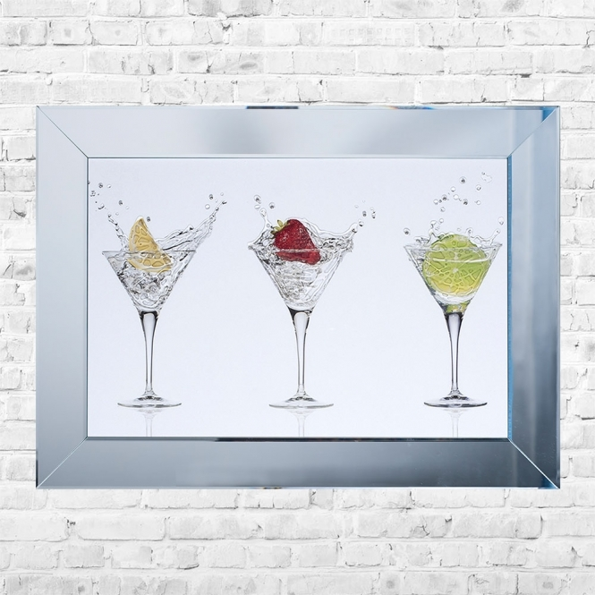 SHH Interiors Cocktail Glasses White Background Framed Liquid Artwork and Swarovski Crystals