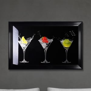 Cocktails Print - Black Made with Liquid Glass and Swarovski Crystals 114 x 74 cm