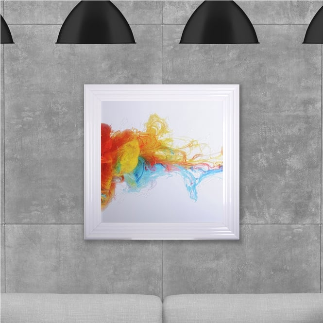 SHH Interiors Colourful Flowing Ink Hand Made with Liquid Glass and Swarovski Crystals 75 x 75 cm
