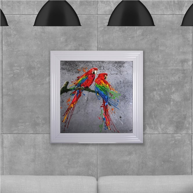 SHH Interiors Colourful Parrots Hand Made with Liquid Glass and Swarovski Crystals 75 x 75 cm