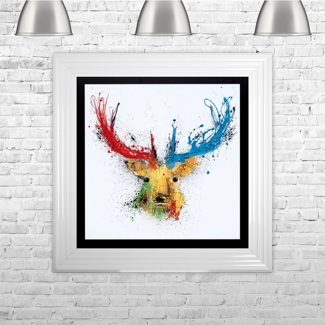SHH Interiors Colourful Stag Black Background White Mount | 75cm x 75cm
