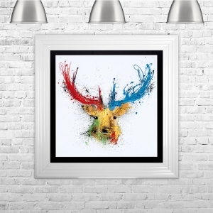 Colourful Stag Black Background White Mount | 75cm x 75cm