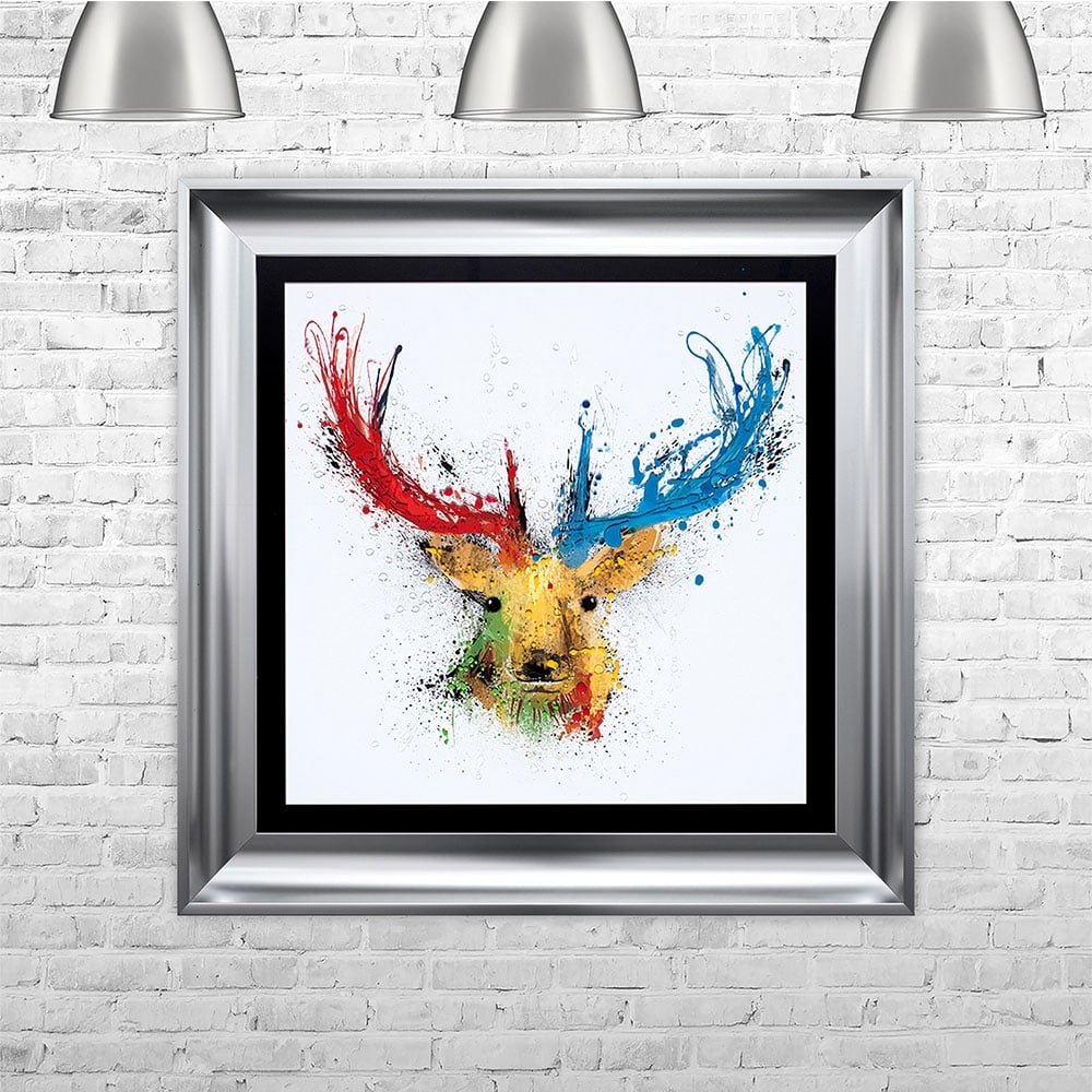 Colourful stag multi colour liquid art black background white mount 75cm x 75cm