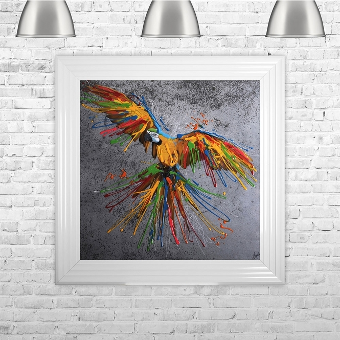 SHH Interiors Colourful Yellow Parrot Multi Colour Liquid Art | 75cm x 75cm