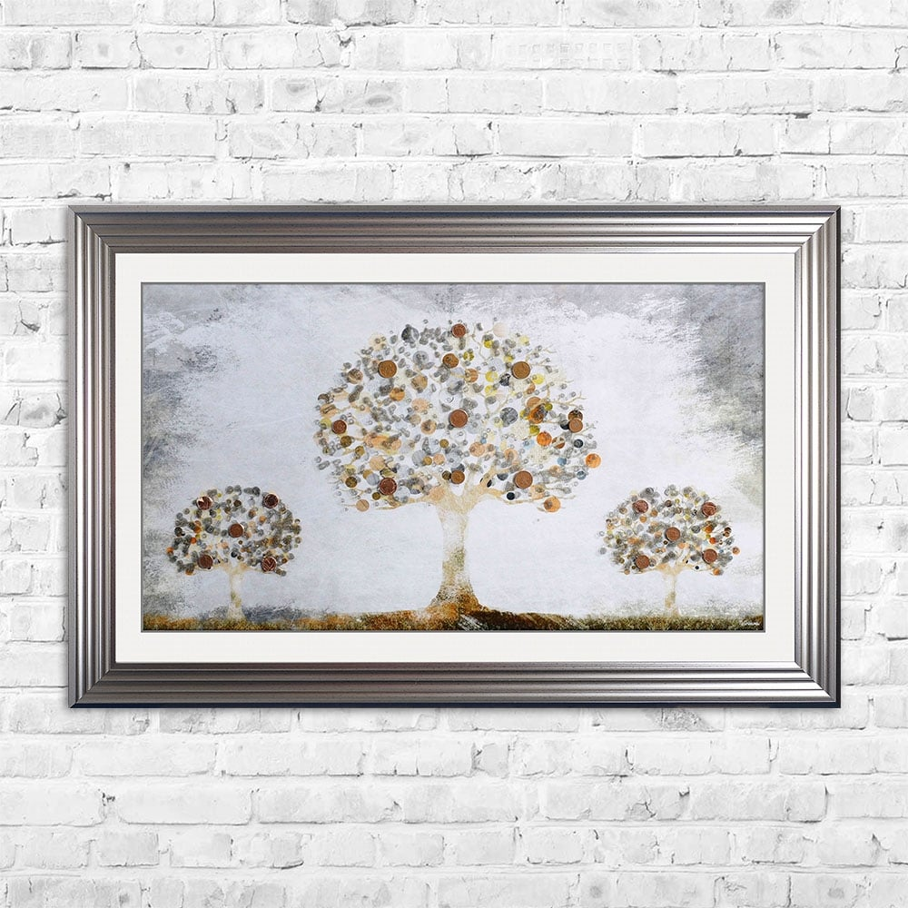 Copper Money Tree Framed Art 114cm X 74cm