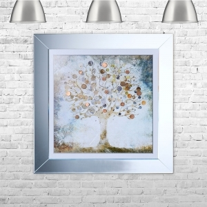 Copper Money Tree Framed Liquid Artwork and Swarovski Crystals