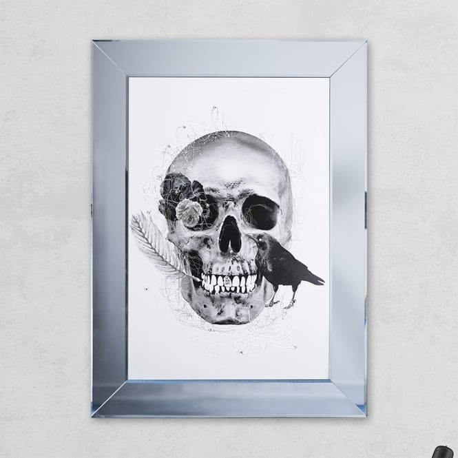 SHH Interiors Crow Skull Print Mirror with Liquid Glass and Swarovski Crystals 54 x 74 cm
