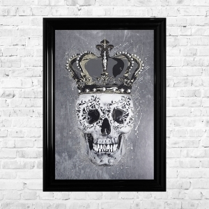 Crown Skull Framed Liquid Artwork and Swarovski Crystals Summer Sale