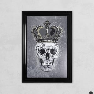 Crown Skull Grey with Liquid Glass and Swarovski Crystals 48 x 68 cm